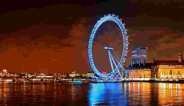 Light Night London Eye London United Kingdom