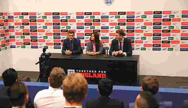 UCFB Wembley Football Team Captains Giving A Press Conference At Wembley Stadium V2