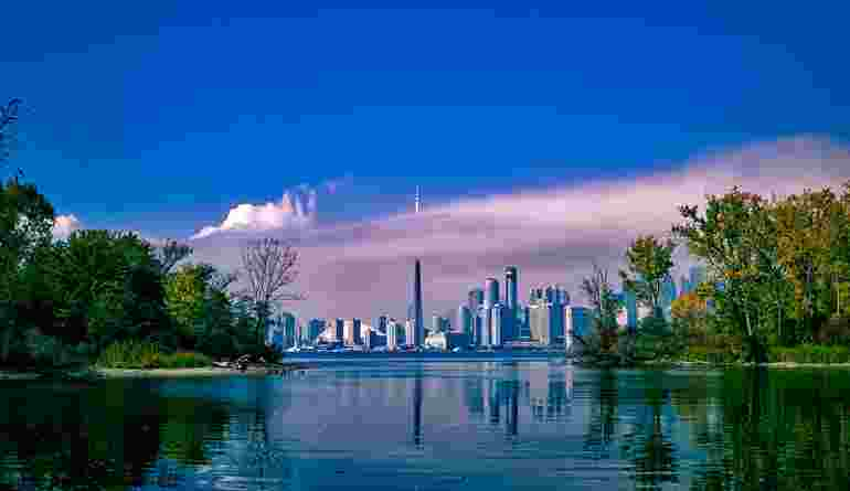 Skyline Of Toronto From Across The Lake In Ontario Canada
