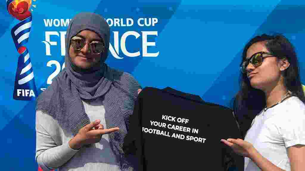 Prerna working on fan engagement at Women's World Cup as part of She Kicks Scholarship